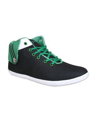 black, green canvas sneakers
