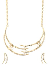 Pearl And Austrian Diamond Studded Necklace Set - ZAVERI PEARLS