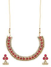 Pink And White Necklace Set - ZAVERI PEARLS