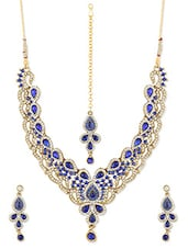 Blue And White Necklace Set - ZAVERI PEARLS