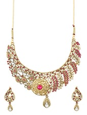 White And Pink Necklace Set - ZAVERI PEARLS
