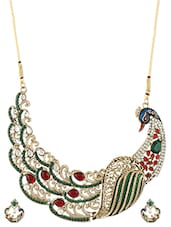 Stone And Crystal Embellished Peacock Necklace Set - ZAVERI PEARLS