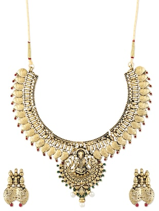Gold Temple Jewellery Inspired Necklace Set