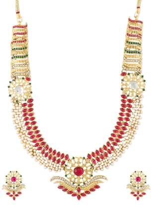 Embellished Red and Gold Necklace Set