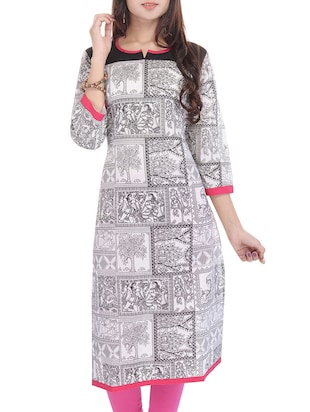 black,white,pink cotton kurta