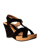 black leatherette wedges -  online shopping for wedges