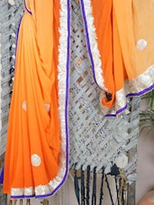 Orange Georgette Embroidered Saree - Libaaz