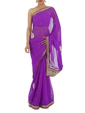 Embroidered Border Purple Georgette Saree - Aari Taari
