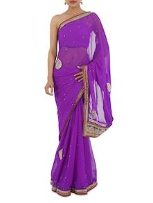 Embroidered Border Purple Georgette Saree - Aari Taari