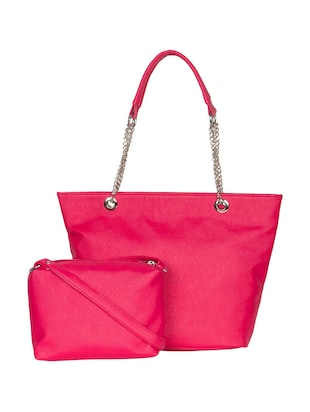 pink leatherette handbag with pouch