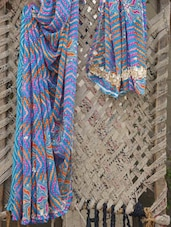 Blue Embroidered Gota Border Saree - Bandhni