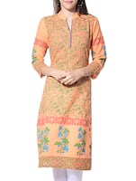 orange cotton regular kurta -  online shopping for kurtas