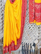 Synthetic Bandhani Border Printed Saree - Bandhni