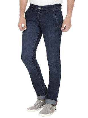 navy blue denim washed jeans