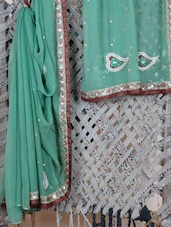 Green Embroidered Gota Border Saree - Rasiya