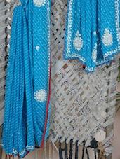 Blue Embroidered Gota Border Saree - Rasiya