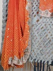 Orange Leheriya Gota Work Georgette Saree - Lazza