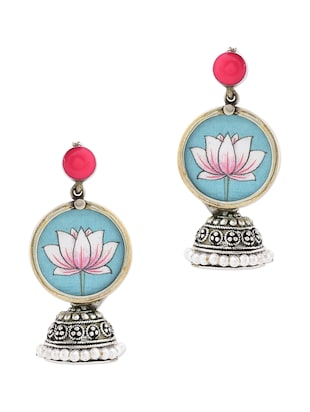 Anetra multicoloured german silver jhumkas