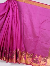 Floral Zari Border Plain Silk Saree - By