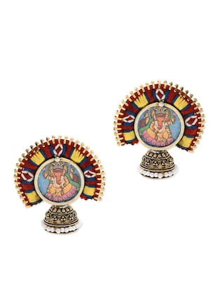 Anetra multicoloured embroidered and handpainted jhumkas