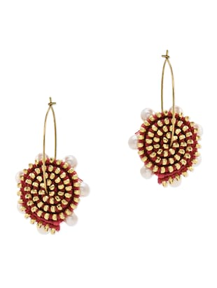 Anetra pink embellished concentric earrings