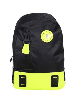black colored, polyester printed backpack