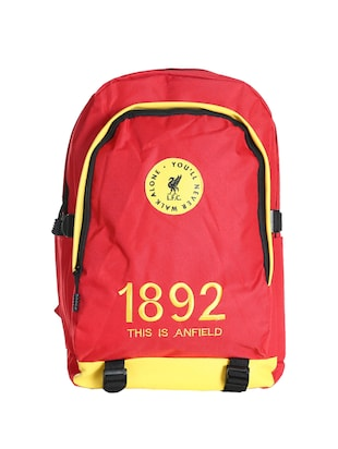 red colored, polyester printed backpack