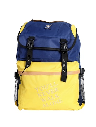 yellow colored, polyester printed backpack
