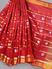 Red Floral Striped Saree - BANARASI STYLE