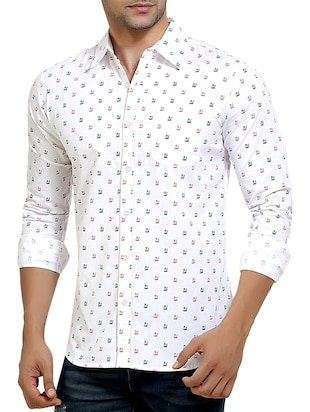 white printed cotton casual shirt