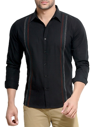 black cotton striped casual shirt