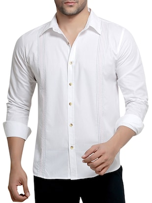 solid white cotton casual shirt