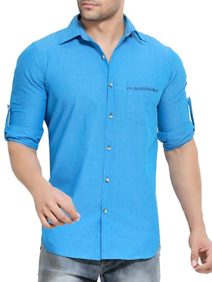solid blue cotton casual shirt