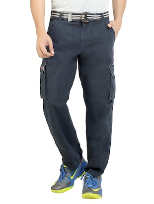 blue cotton casual trousers