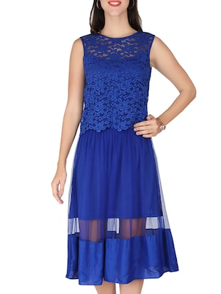 blue georgette, lace dress