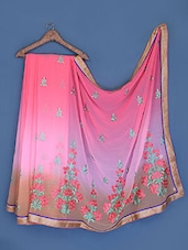 Pink And Taupe Embroidered Chiffon Saree - Suchi Fashion