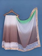 White And Brown Polka Dot Chiffon Saree - Suchi Fashion