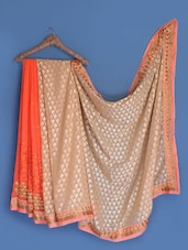 Orange Chiffon Saree - Suchi Fashion