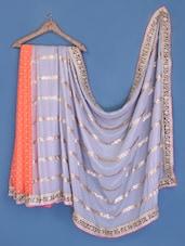 Orange And Grey Chiffon Saree - Suchi Fashion