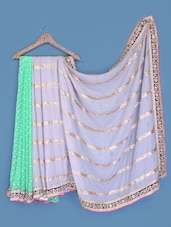 Mint Green And Grey Chiffon Saree - Suchi Fashion
