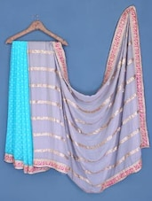 Sky Blue And Grey Chiffon Saree - Suchi Fashion