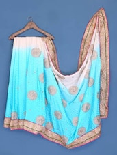 White And Sky Blue Shaded Saree - Suchi Fashion