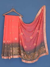 Peach And Grey Chiffon Saree - Suchi Fashion