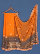 Orange And Grey Chiffon Saree - Suchi Fashion