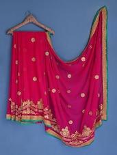 Dark Pink Floral Embroidered Georgette Saree - Suchi Fashion