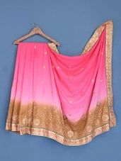 Ombre Pink Satin Chiffon Embroidered Saree - Suchi Fashion