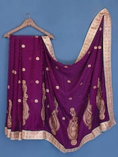 Dark Purple Zari Embroidered Chiffon Saree - Suchi Fashion