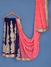 Peach And Blue Embroidered Georgette Saree - Suchi Fashion