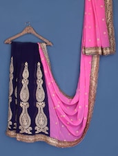 Pink And Blue Embroidered Georgette Saree - Suchi Fashion