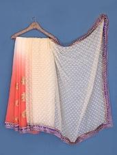 Orange And Peach Embroidered Chiffon Saree - Suchi Fashion
